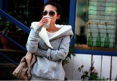 Concise Cross Collar Zipper Side Long Sleeves Fleece Coat For Women, GRAY, ONE SIZE in Jackets & Coats | DressLily.com