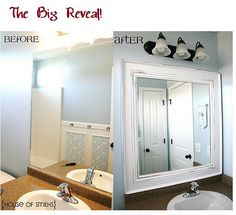 Diy framed mirror tutorial thick baseboard i think it was about10 another amazing bathroom mirror transformation diy solutioingenieria Gallery