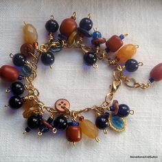 Boho Charm Bracelet Stone Glass Horn & by StoneBoneAndButton, $42.00