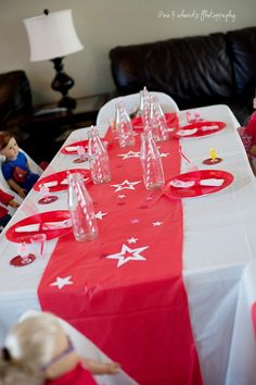 American Girl doll party - table setup