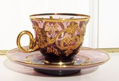 Murano Glass Cup and Saucer Amethyst and Gilt:)