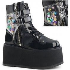 Damned Black Charmed Ankle Boots - New at GothicPlus.com - your source for gothic clothing jewelry shoes boots and home decor.  #gothic #fashion #steampunk