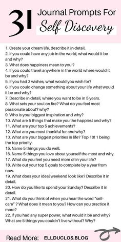31 self discovery journal prompts to help you with personal growth and finding your life passion. How to find your purpose in life through a self discovery journaling challenge. 31 Self Discovery Journal Prompts - A Self Discove Journal Questions, Journal Writing Prompts, Journal Art, How To Journal, Life Journal, Bullet Journal, Creative Writing Prompts, Nature Journal, Happiness Meaning