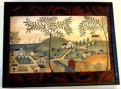 A view of the Western Reserve of Ohio by R. Mural Stencil, Americana Art, Painting, Art, Primitive Painting, Folk Art Painting, Folk Art Decor, Decorative Painting, Interesting Art