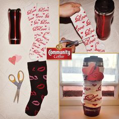 Get ready for #VDay with #DIY #coffee sleeves! All you need are a pair of sweet socks, scissors and your favorite accessories!