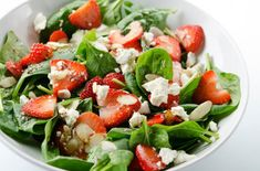 Strawberry and Spinach Salad with Feta Cheese