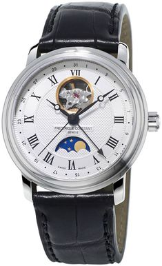 Frédérique Constant Classics Moonphase Heartbeat gold-plated stainless steel watch is a handsome timepiece with a unique moonphase complication. Its gold-plated stainless steel case is offset with a brown crococalf-leather strap. Moonphase Watch, Frederique, Luxury Watch Brands, Moon Phases, Stainless Steel Watch, In A Heartbeat, Luxury Watches, Watches For Men, Wrist Watches