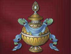 Sacred Vase symbol Tibetan Symbols, Buddhist Symbols, Religious Symbols, Tibetan Buddhism, Vajrayana Buddhism, Dark Anime Girl, Lord Vishnu Wallpapers, Buddha Art, Silk Painting