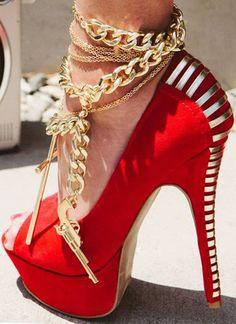 Sexy Red Open Toe Heel Pumps
