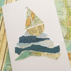 Sailing boat collage card made from maps