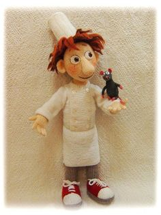 The doll Alfredo Linguini from Ratatouille cartoon pattern includes 55 pages and 72 photoes of toy creation in PDF format Disney Crochet Patterns, Crochet Disney, Crochet Patterns Amigurumi, Amigurumi Doll, Doll Patterns, Diy Crafts Knitting, Crochet Projects, Knitted Dolls, Crochet Dolls