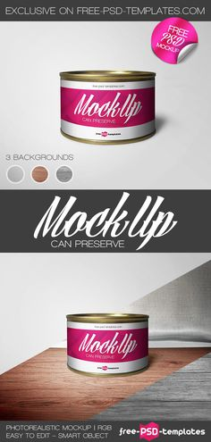 Free Can Preserve Mock-up in PSD   Free PSD Templates