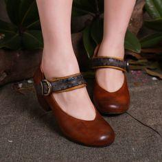 Туфли Мэри Джейн на сборном каблуке