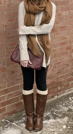 leggings, legwarmers, oversized sweater, scarf and boots autumn outfit