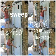 Want to paint your front door but aren't sure where to start? Sandra of @Sandra Powell {Sawdust Girl} shows us how to prep for a new coat of paint! #paint #diy
