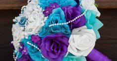 Purple and turquoise wedding bouquet, purple and teal bridal bouquet, peacock wedding bouquet, silk wedding bouquet, ready to ship | Turquoise, Wedding and Silk