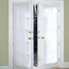 Door Panel Curtains, French Door Curtains, Ikea Curtains, French Doors Patio, Country Curtains, White Curtains, Panel Doors, Windows And Doors, Diy Windows