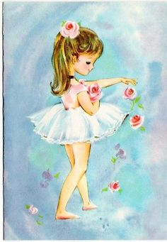 Ballerina w/roses vintage greeting Card Note the coloring of the hair is not all blonde or brunette, it's blended like real hair.