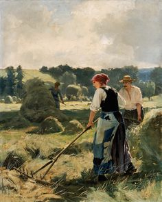 """solitaryfossil: """" DUPRÉ, Julien French painter (b. Paris) Haymaking 1892 Oil on canvas, 81 x 65 cm Museum of Fine Arts, Boston Julien Dupré is considered to be one of the leading. Canvas Pictures, Pictures To Paint, Artist Art, Artist At Work, Harvest Pictures, Animal Painter, Farm Paintings, Russian Painting, Oil Painting For Sale"""