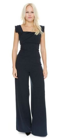 A chic and contemporary alternative to our Pretty Dresses, pick up our Cara Navy Stretch Twill Jumpsuit for less than £50 in our sale #fashion #style #sale #elegant #chic #classic #sophisticated #modern #contemporary #theprettydress #theprettydresscompany