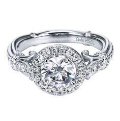 Antique Halo Diamond Engagement ring setting - Gabriel NY