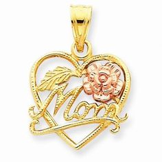 """NEW SOLID 14K TWO TONE GOLD MOM HEART W/ ROSE 1.44g CHARM FOR NECKLACE .90""""X.60"""" #Pendant"""