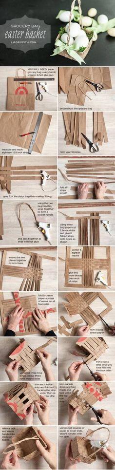牛皮纸是好东西哦,收纳篮手工DIY的好材料
