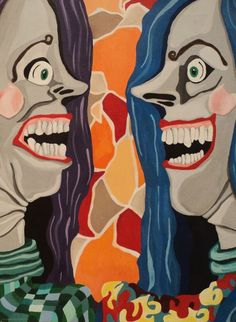 Befriend-Original Acrylic Painting 9x12 inches Colorful Scary Surreal #Surrealism
