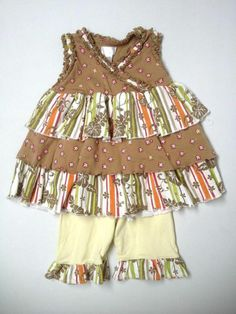 Baby Girl Tooo T-o-o Cute Tiered  Ruffle Top Capri Set Size 12/18 Months $29.99