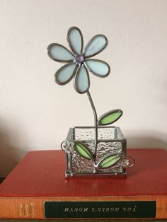 Stained Glass Flower, Candle holder, votive, paper clips in office, cute business card holder, Bohemian decor, heavy glass Flower