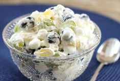 Blueberry Ambrosia Fruit Salad is a twist on the classic delicious Southern dessert recipe, filled with blueberries, marshmallows and a creamy dressing.