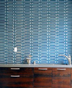 Heath tiles in the kitchen. Such fantastic colors, patterns & textures!