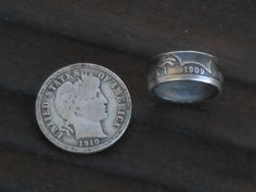 barber dime coin ring