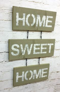 Home Sweet Home sign wall hanging rustic shabby chic tan home decor cottage primitive chain distressed words chippy paint housewarming gift on Etsy, $25.00