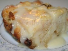 A southern bread pudding using leftover bread and a can of fruit cocktail and finished with a drizzle of whiskey sauce.