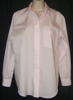Foxcroft Wrinkle Free Light Pink Button Front Long Sleeve Career Shirt Top 8 #Foxcroft #ButtonDownShirt #Career