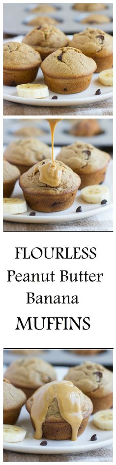 Flourless Peanut Butter Banana Muffins- made without dairy, gluten, oil OR refined sugar. One muffin has as much protein as an egg! They're so moist and delicious, you would never guess that they're healthy!