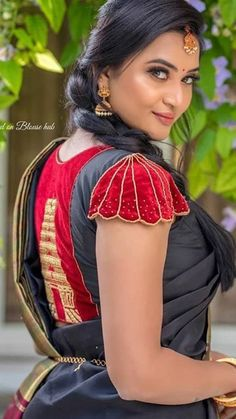 Best saree blouse designs images in 2019 - Simple Craft Ideas Pattu Saree Blouse Designs, Simple Blouse Designs, Stylish Blouse Design, Fancy Blouse Designs, Bridal Blouse Designs, Latest Saree Blouse Designs, Sleeves Designs For Dresses, Sleeve Designs, Mary Janes