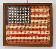 American Country (early 20th Cent) folk art embroidery of a US flag #AmericanCountry
