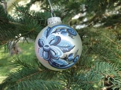 www.etsy.com/shop/craftswithgramma    Rosemaled Christmas Ornament