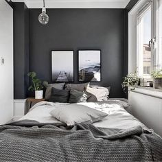 Small Master Bedroom Design with Elegant Style - MagzHome - Home bedroom - Bedding Master Bedroom Gray Bedroom Walls, Small Master Bedroom, Master Bedroom Design, Home Decor Bedroom, Modern Bedroom, Small Bedrooms, Master Bedrooms, Grey Bedrooms, White Bedroom