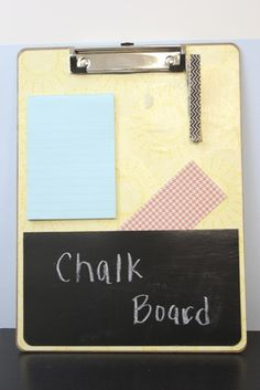 Preschool Altered Clipboard using Stampin' Up! Designer Series Paper, Mod Podge, Washi Tape, Chalk Board Paint, Sticky Strip:  www.stampinwithrebecca.com