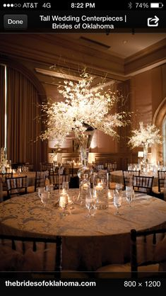 Wedding centerpiece with lights