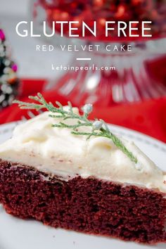 This gluten-free red velvet cake from Keto in Pearls is GREAT for ALL of your holiday parties. This festive keto recipe is EASY to make and requires only one bowl. Since it takes one bowl, it's fun to let your kids help you make this Christmas dessert! Use almond flour in the batter and top it off with a delicious cream cheese frosting! Enjoy this yummy low carb red velvet cake this holiday season. #ad #ketocake #cake #redvelvet #holidays #holidays #Christmastreats #glutenfree
