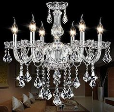 "SUN-E Maple Leaf shape K9 Crystal Candle Chandeliers Lighting 6 Lights Bathroom Pendant Ceiling Lights Fixture Lamp for Dining Living Room Bedroom Hallway Entry D23.6"" X L47.2"""