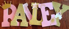 Princess themed letters, Pink and gold letters, Letters for nursery, Custom wood… Diy Letters, Gold Letters, Wooden Letters, Letters Decoration, Princess Room, Baby Shower Princess, Princess Theme Bedroom, Princess Bedrooms, Pink Gold Party