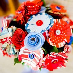 Red, white and blue paper wedding bouquet