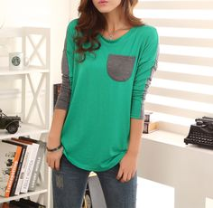 Color Block Ladylike Style Pocket Splicing Bat-Wing Sleeves T-shirt For Women (GREEN,L) | Sammydress.com