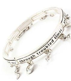 Silvertone Engraved Footprints Charm Stretch Bracelet
