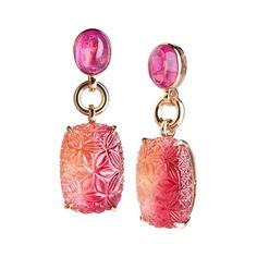 Pink Tourmaline Gold Drop Earrings | From a unique collection of vintage drop earrings at https://www.1stdibs.com/jewelry/earrings/drop-earrings/